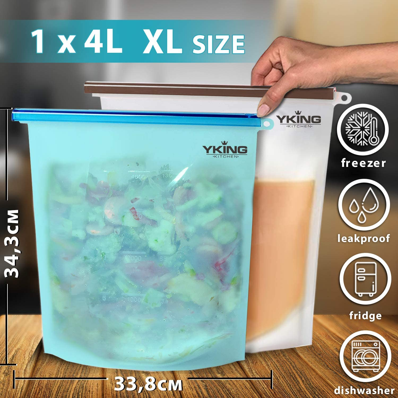 7 Pouches Resealable Food Pouches Storage Bags Fridge Batch Cooking Freezable