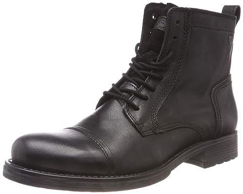 ba23c292032395 JACK   JONES Herren JFWRUSSEL Leather Anthracite PRE Klassische Stiefel