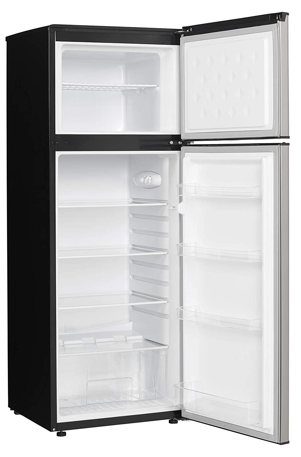 Danby Energy Star 7.3-Cu Ft Apartment Size Refrigerator with Top-Mount Freezer in Spotless Steel//Black