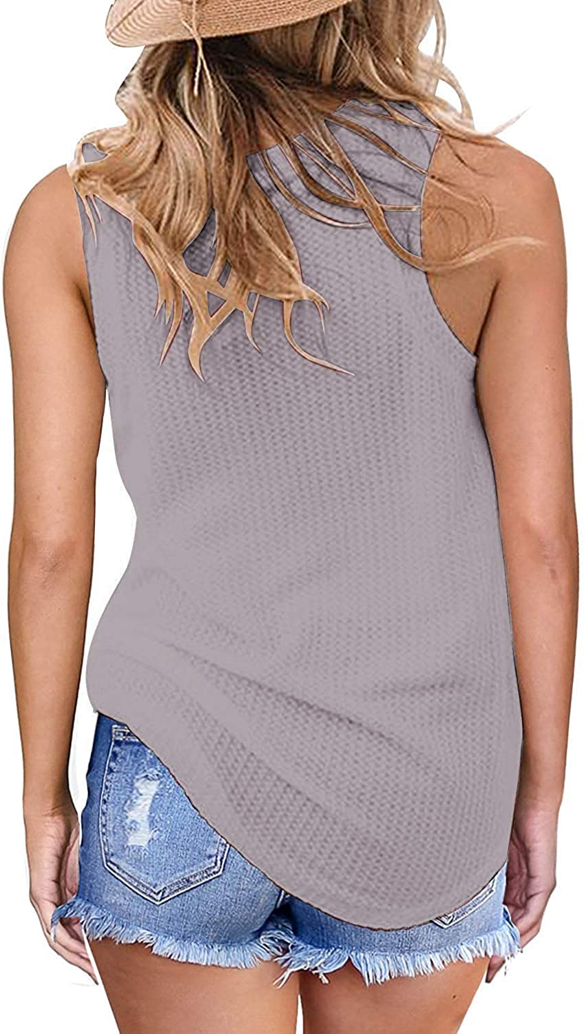 Owin Womens Casual Waffle Knit Tank Tops Sleeveless Shirts for Women Summer tops