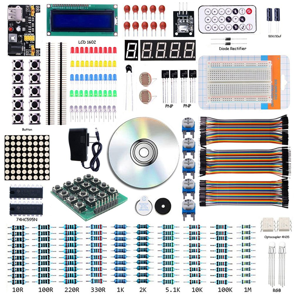 Starter Project Kit with Tutorial 1602 LCD Breadboard Jumper Cable Power Supply for Arduino, Raspberry Pi (Without Mothorboard controller)