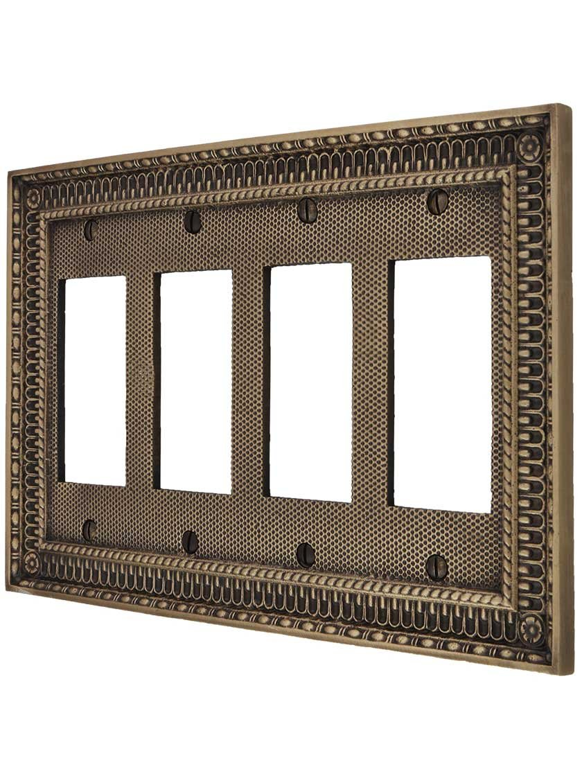 Pisano Quad Gang GFI Cover Plate in Antique Brass