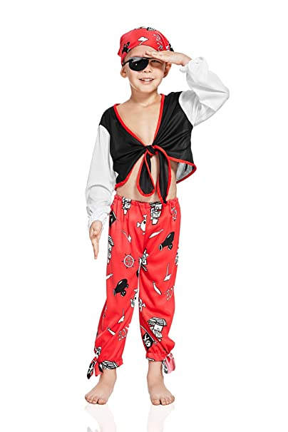 Kids Boys Rogue Pirate Costume Buccaneer Sea Dog Freebooter High Seas Dress Up (6-8 years, Red/Black)