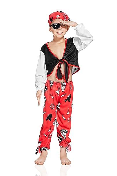 Kids Boys Rogue Pirate Costume Buccaneer Sea Dog Freebooter High Seas Dress Up (6-8 years, Red/Black)