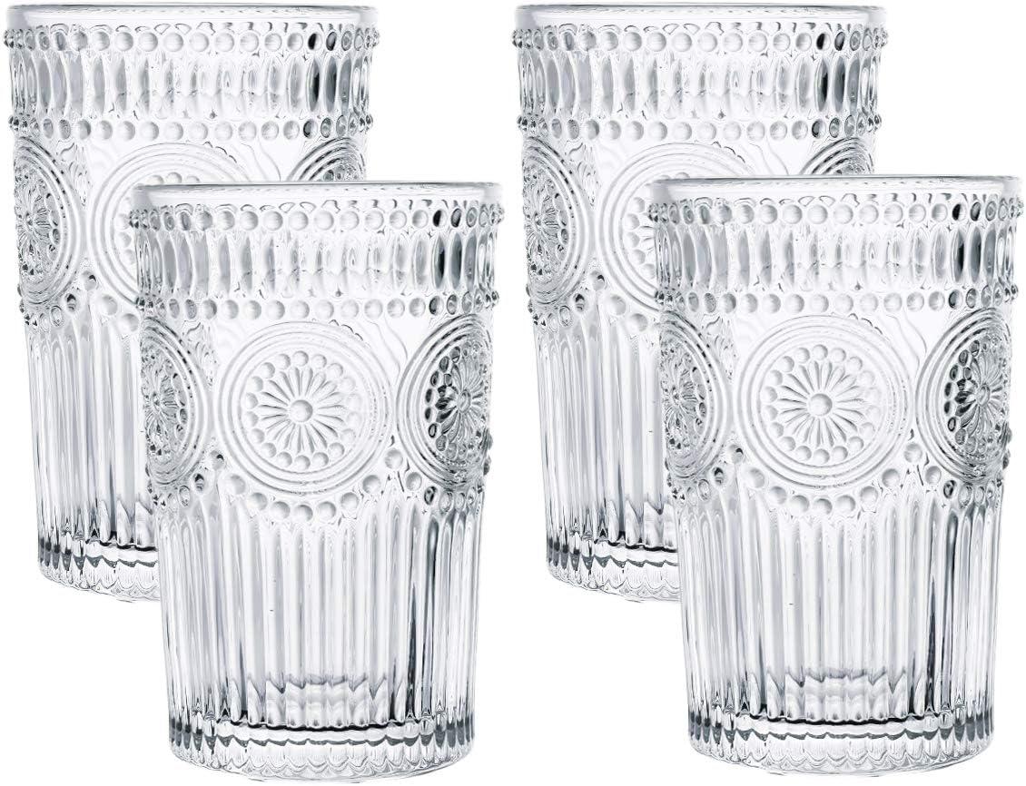 Kingrol 4 Pack 12.5 oz Romantic Water Glasses, Premium Drinking Glasses Tumblers, Vintage Glassware Set for Juice, Beverages, Beer, Cocktail