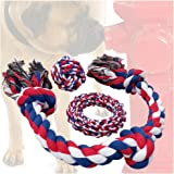 Otterly Pets Dog Toys (BIG SIZE 3-PACK) - 34-Inch 3-Knot, 6-Inch Rope Ring, 4-Inch Ball - Tough Durable (Not Indestructible) Ropes Toy Set for Medium to Large Dogs
