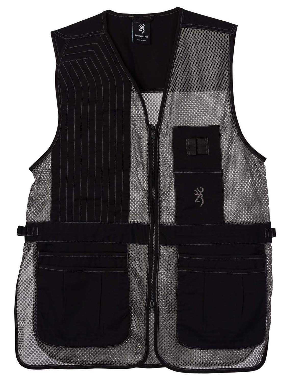 Browning, Trapper Creek Mesh Shooting Vest, Black/Gray, Medium, Right Hand by Browning