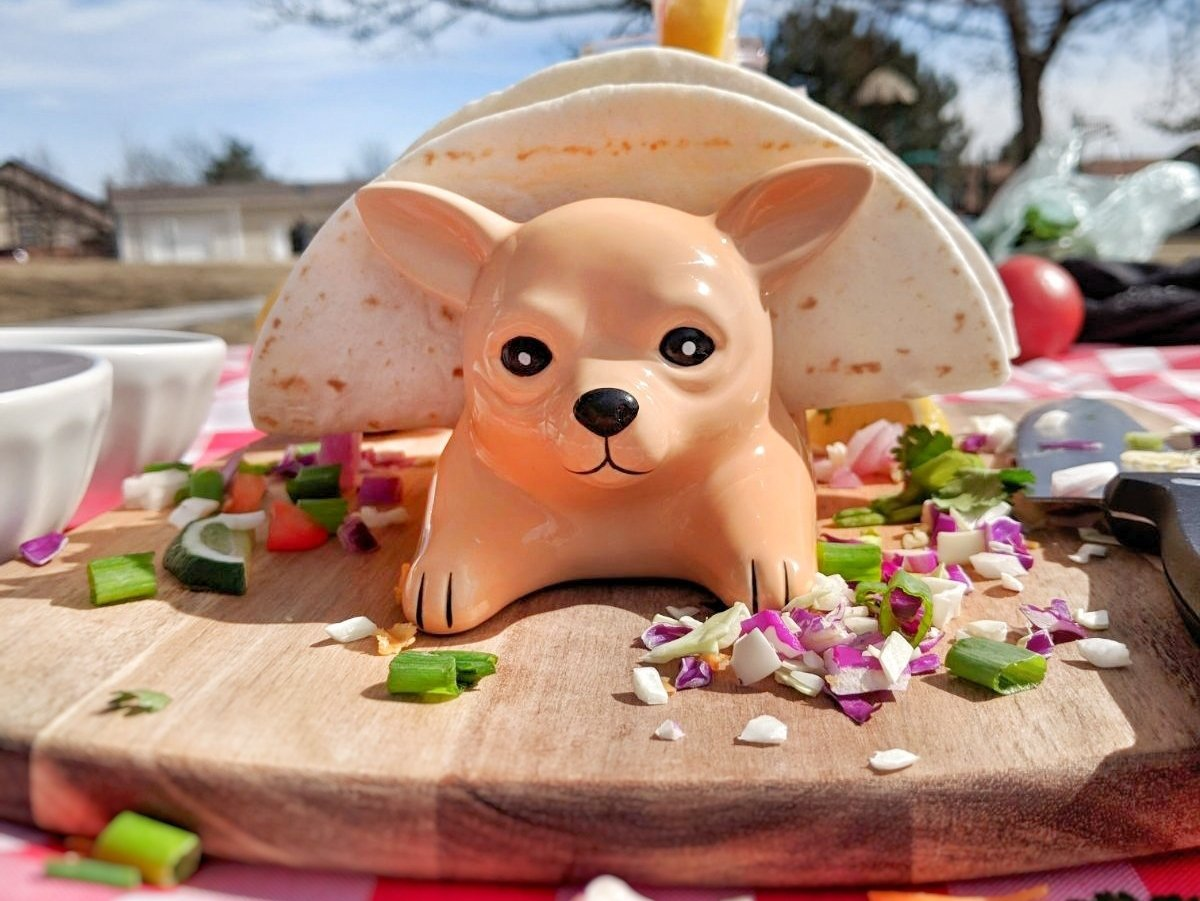 Chihuahua Taco Holder Funny, Novelty Ceramic Taco Tuesday Food Tray   Holds 3 Tacos   Soft & Hard Flour Corn Tortillas   Dishwasher Safe   Excellent Gift for Kids and Adults   HMH Elite by HMH Elite (Image #5)