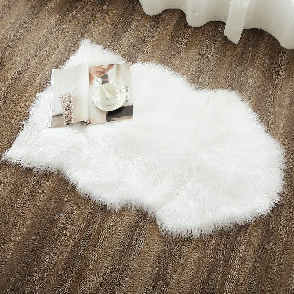 OJIA Deluxe Soft Faux Sheepskin Chair Cover Seat Pad Plain Shaggy Area Rugs for Bedroom