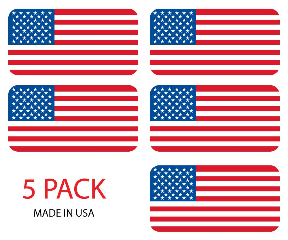 Sassy Stickers (5) American Flag Hard Hat Stickers / Decals / Labels Tool Lunch Box Helmet Patriotic Old Glory