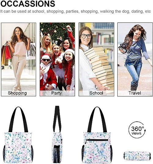 VOLINER Flower Floral Shoulder Bag Tote Bag For Shopping Gym Travel Light Blue
