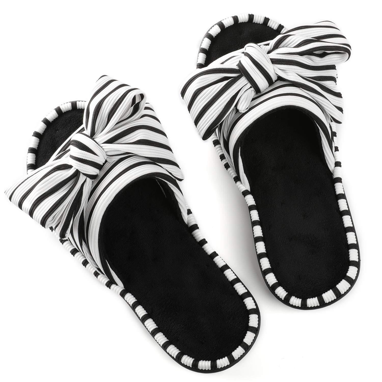 Women's Cozy Memory Foam Plush Gridding Velvet Lining Spa Thong Flip Flops Clog Style House Indoor Slippers (Large / 9-10 B(M) US,Black)