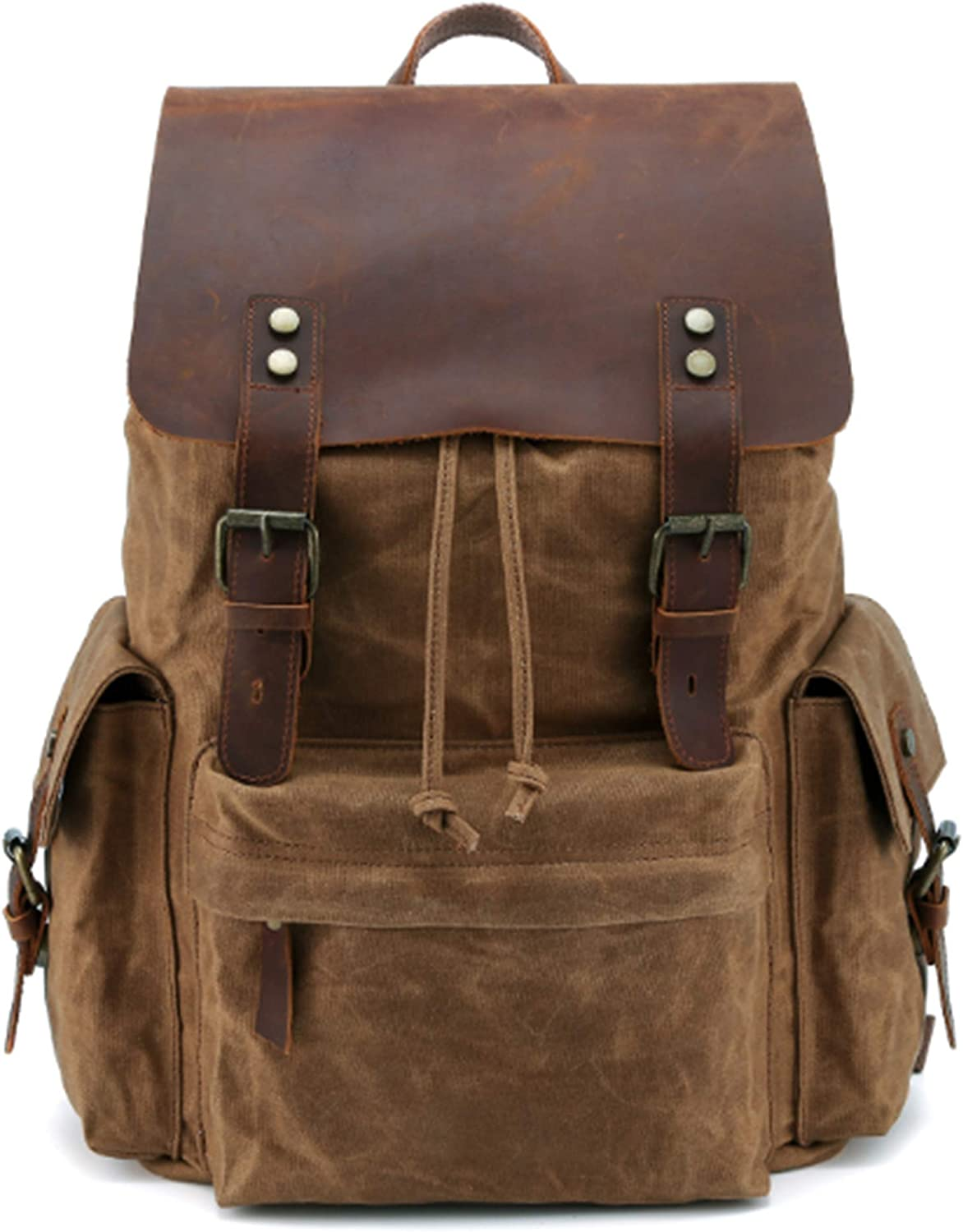 Canada style 2020new made waxed canvas backpack15.6 Inch Laptop Genuine leather(Oil wax waterproof)shoulder Bag vintage computer rucksack for Men&women,professional Outdoor hiking travel school(khaki)