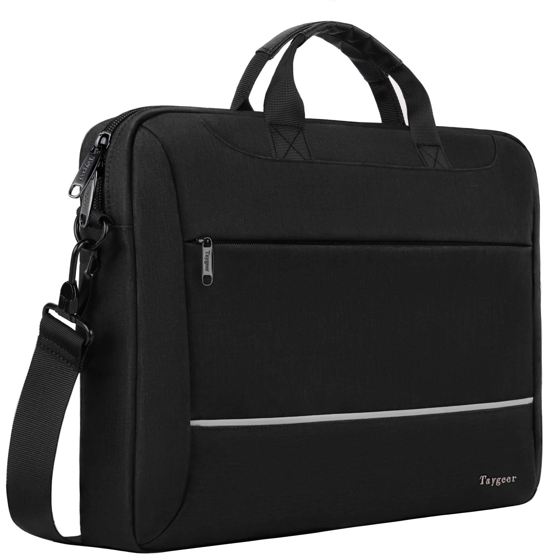 Laptop Bag 15.6 inch, Slim Laptop Briefcase for Men Women, Business Portable Carrying Case Computer Shoulder Bag, 15 Laptop Tablet Attache Compatible with HP/Dell/Lenovo/Asus/Microsoft Surface, Black