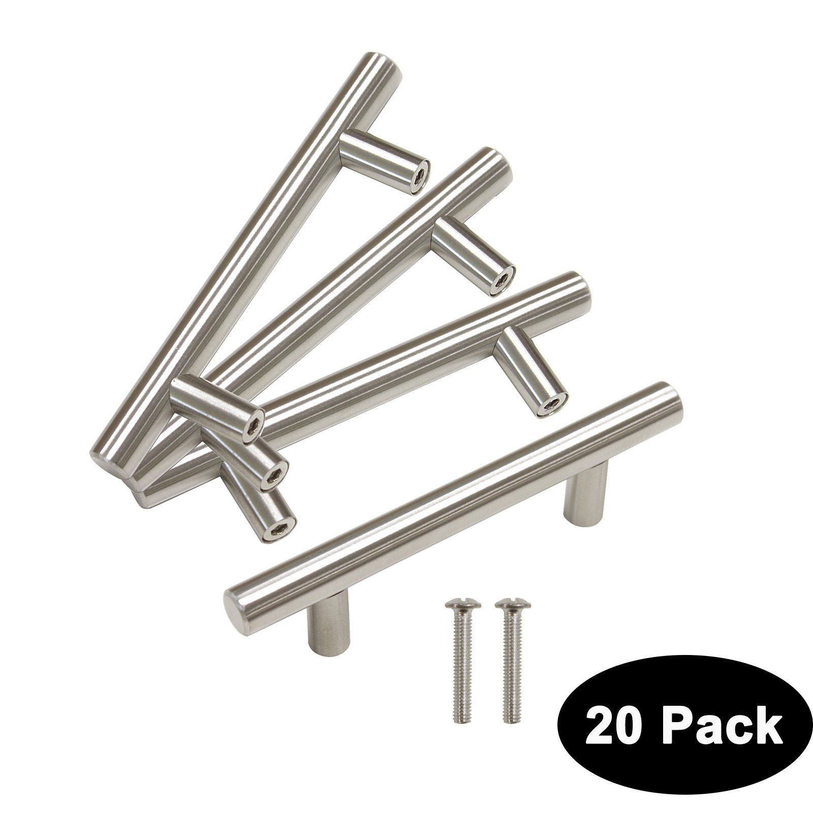 20 pack 76mm(3inch) Hole Centers Stainless Steel Kitchen Cabinet Door Handles and Pulls European Style Cabinet Knobs Length 127mm(5inch) Brushed Nickel