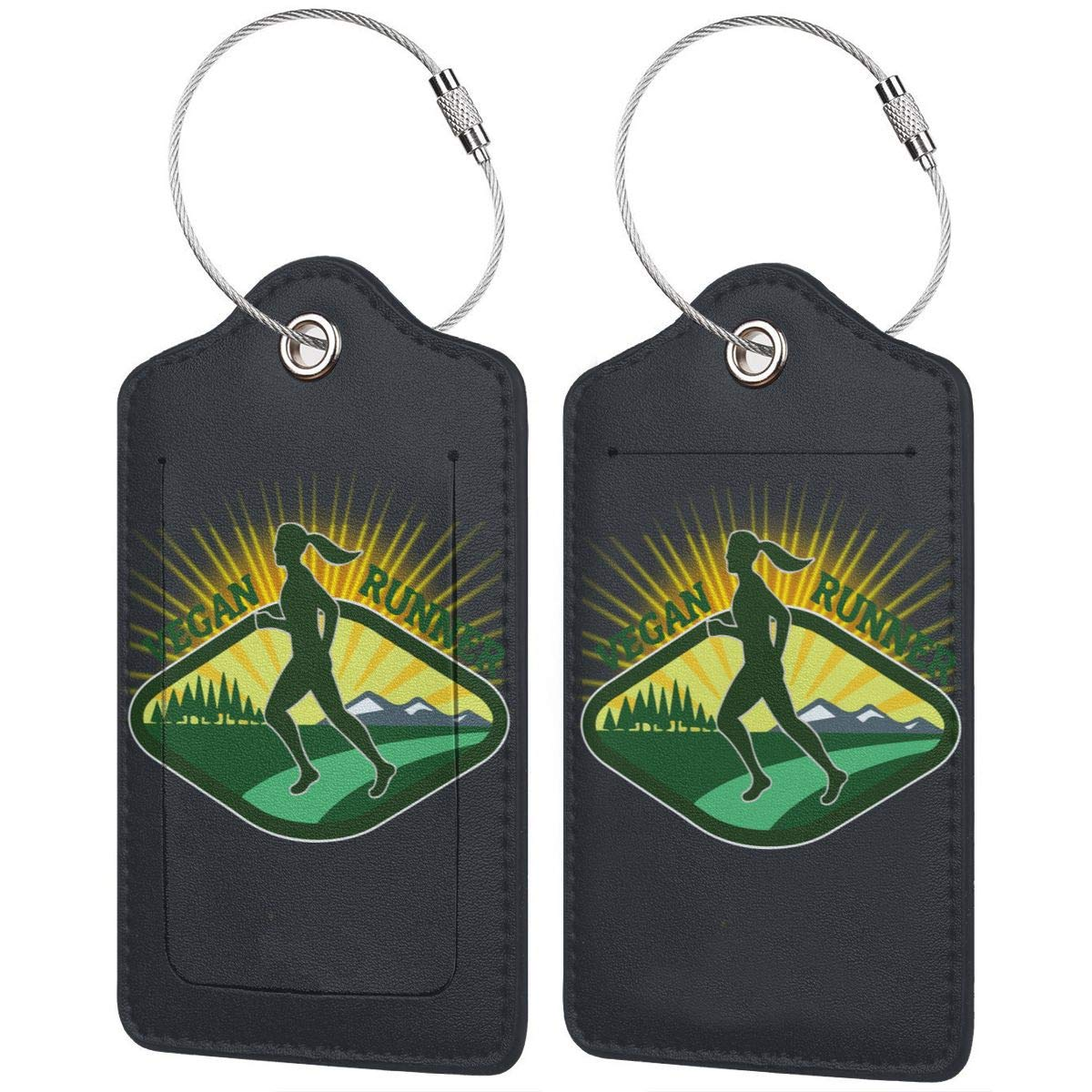 Vegan Runner Leather Luggage Tags Suitcase Tag Travel Bag Labels With Privacy Cover For Men Women 2 Pack 4 Pack