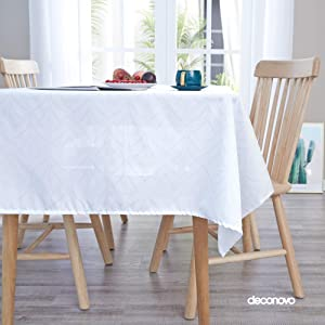 Deconovo Printed Sectors Pattern Tablecloth Decorative Wrinkle Resistant Oxford Table Cloth for Dining Room 54x84 Inch White