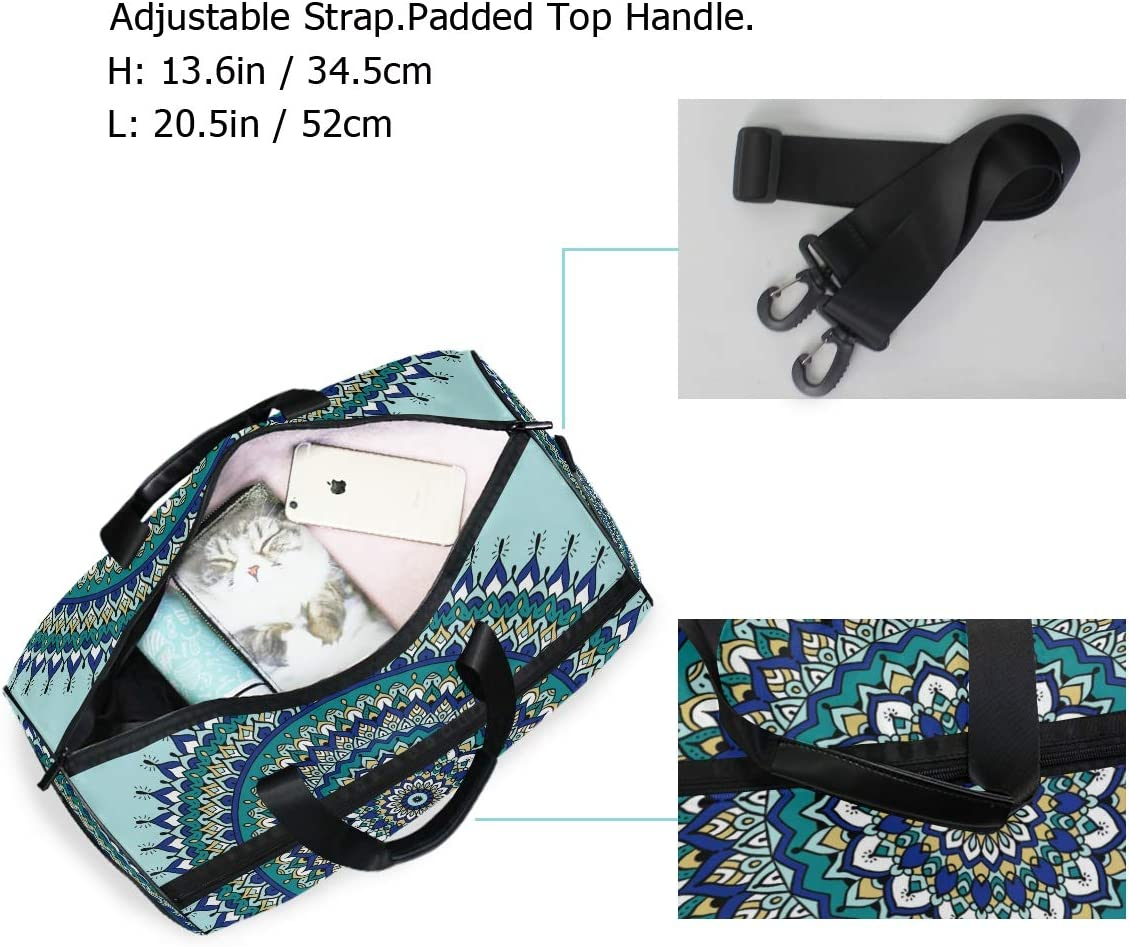 FAJRO Gym Bag Travel Duffel Express Weekender Bag Round Shape Mandala Pattern Carry On Luggage with Shoe Pouch