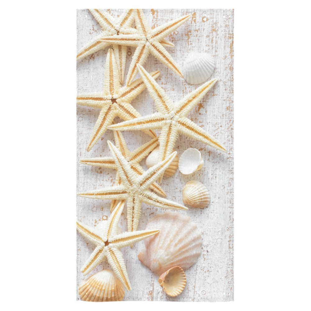 InterestPrint Seashell Starfish Hawaii Beach Wood Marine Nautical Bath Towels Bathroom Body Shower Towel Bath Wrap For Home,Outdoor and Travel Use,30'' x 56'' Inche