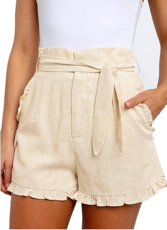 Paitluc Womens Elastic Waist Side Pockets Ruffle Cotton Linen Shorts Summer Casual Size S-XL