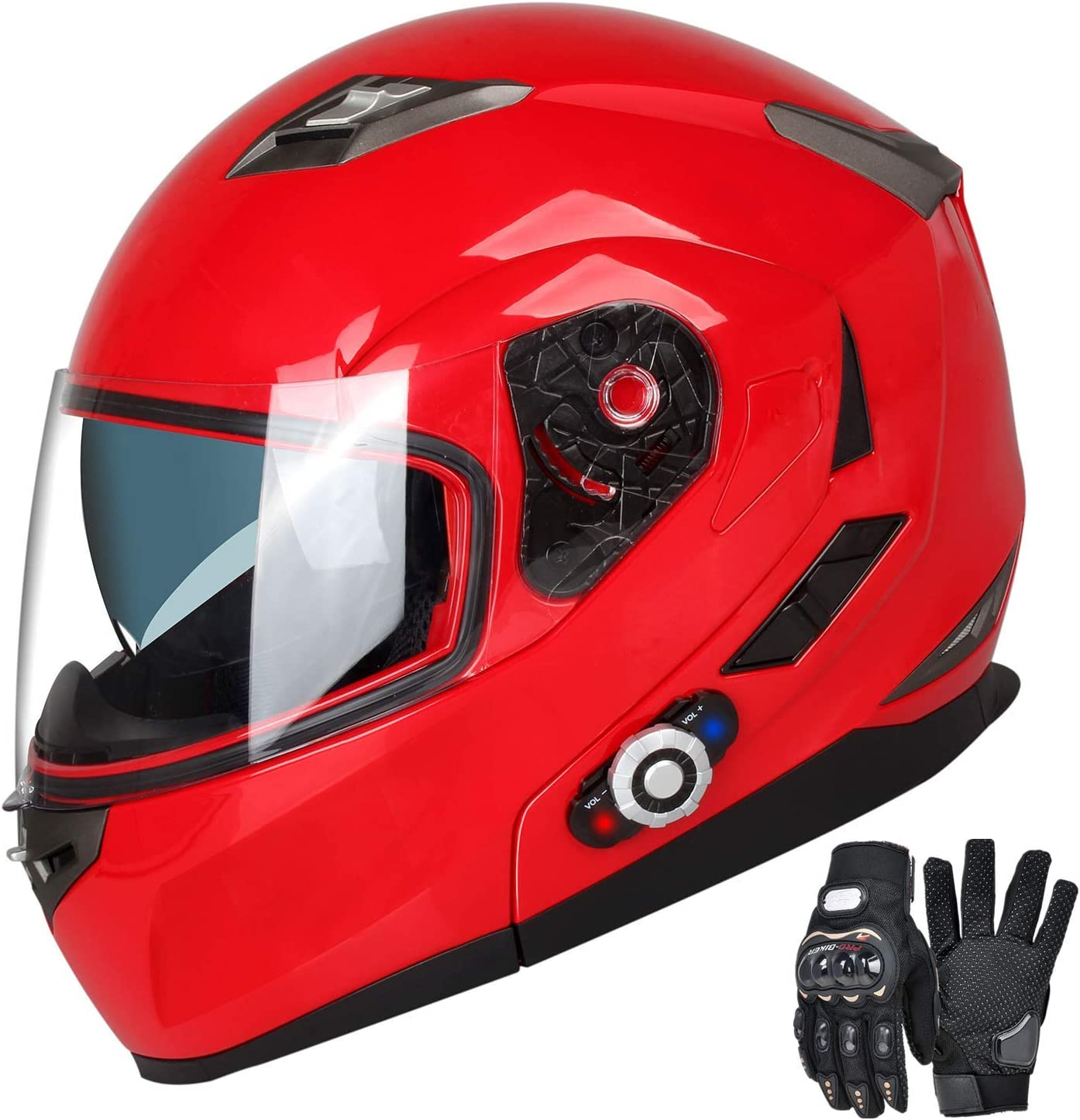 Motorcycle Bluetooth Helmet MotorBike Dual Visor With Built-In Intercom 500M+FM
