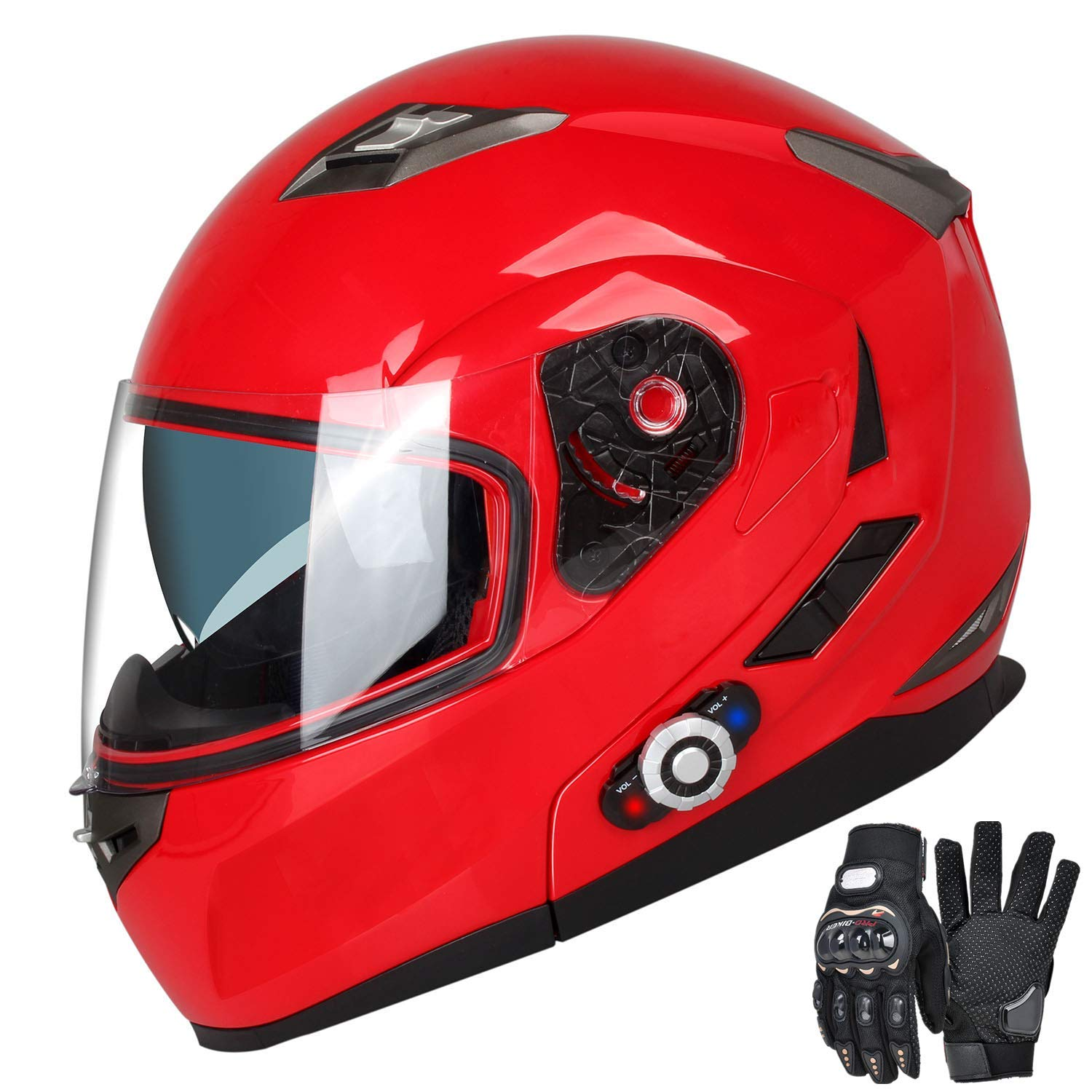 Motorcycle Bluetooth Helmets,FreedConn Flip up Dual Visors Full Face Helmet,Built-in Integrated Intercom Communication System(Range 500M,2-3Riders Pairing,FM radio,Waterproof,L,Red) by FreedConn (Image #1)