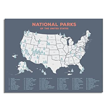Amazon.com: Kindred Sol Collective US National Parks Map of All ...