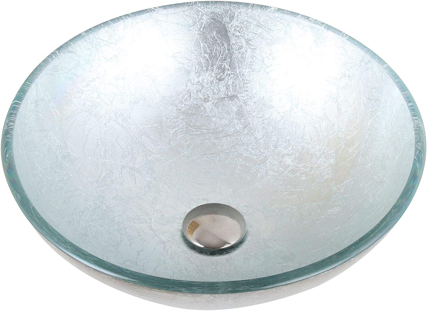 Hand Painted Foil Round Bowl Vessel Bathroom Sink Drain Finish Chrome