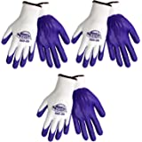 3 Pack Tsunami Grip 500 Purple Nitrile Grip Work Gloves Sizes S-XL (Small)