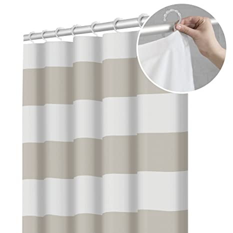 Maytex Smart Waffle Fabric Shower Curtain With Attached Roller Glide Hooks 70 Inch X 72