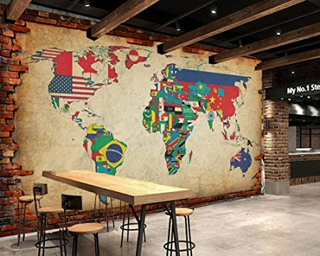 Retro vintage wall world map wall 3d bar wallpaper restaurant retro vintage wall world map wall 3d bar wallpaper restaurant wallpaper ktv mural living room picture gumiabroncs Gallery