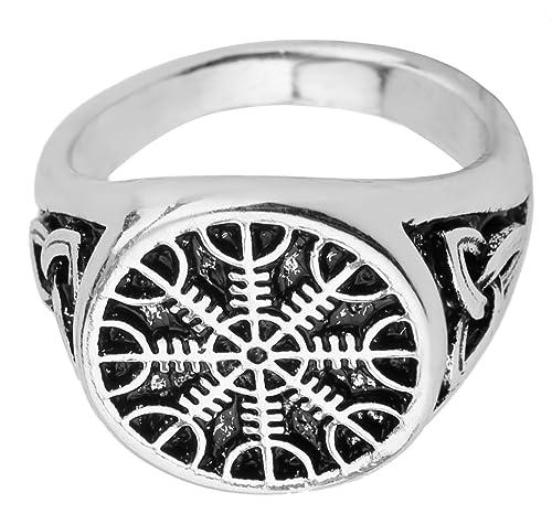 d5c3bcad0915 Vintage Viking Aegishjalmur timón de Awe irlandés Trinity nudo amuleto  anillos joyas para hombres