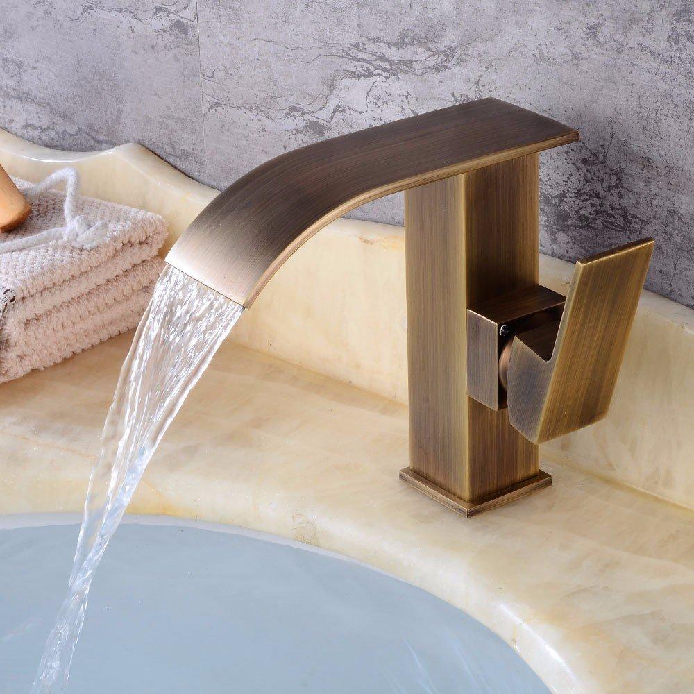 MMYNL TAPS MMYNL Waschtischarmatur Bad Mischbatterie Badarmatur Waschbecken Antike moderne Wasserfall kaltes Wasser Keramik Ventil Einloch, einseitiger Griff Badezimmer Waschtischmischer