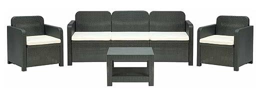 2 opinioni per Set in rattan mobili da giardino POSITANO: 1 divano tre posti 2 poltrone 1