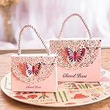 Cajas de regalo Eyxia, con diseño de mariposas, color azul, 20 unidades, para decoración de eventos, bodas, fiestas, entre otros, Rosa, medium