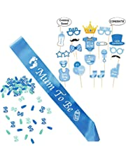 Boy Baby Shower Set and Mum to Be Party Decorations, Mummy to Be Blue Satin Sash for Maternity Celebration, Baby Boy Photo Booth Props, It's a Boy Confetti Mix. Accessories Baby Shower Supplies