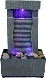 "Nature's Mark 11"" H Raining Slate Color Changing LED Fountain (No Adapter)"