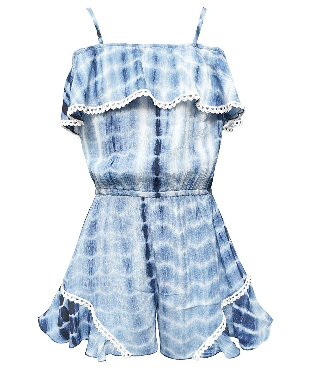 Truly Me, Charming Rompers (with Many Options), 4-6X, 7-16 (10, Blue Tie Dye)