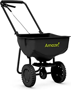 AMAZE 75201 Broadcast Spreader-Quickly and Accurately Apply up to 10,000 sq. ft. of Grass Seed, Fertilizer, and Other Lawn Care Products to Your Yard, 75201-1
