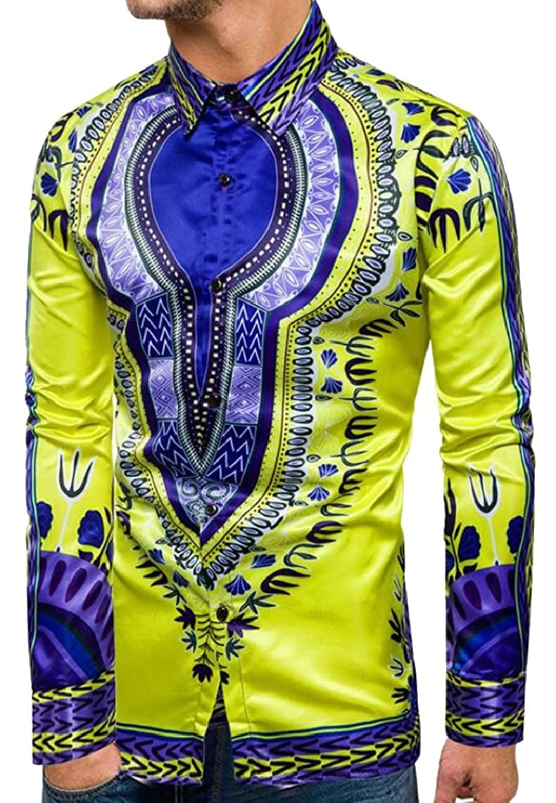 Yayu Mens Dashiki Patterns Africa Retro Ethnic Slim Fit Button Down Dress Shirts