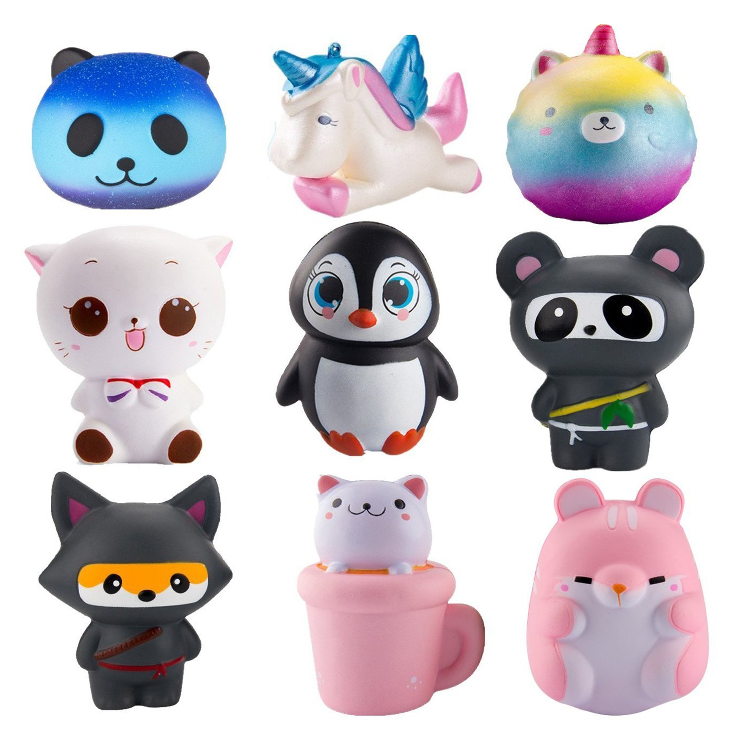 WATINC Random 6Pcs Jumbo Cute Animal Squishy Sweet Scented Vent Charms Slow Rising squishies Kawaii Kid Toy, Lovely Stress Relief Toy, Animals Gift Fun Large(WT-6p Animal Set)