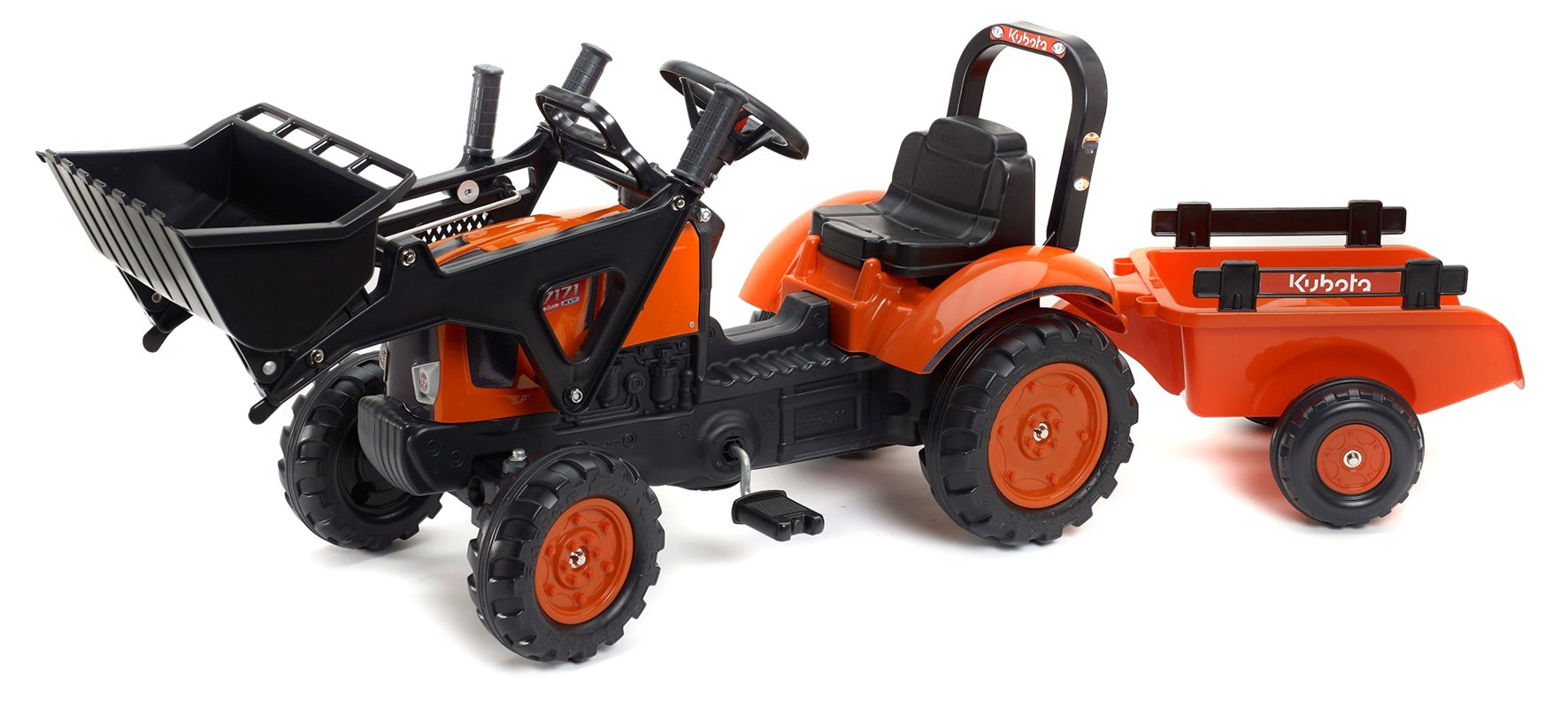 Kubota M7171 Pedal Tractor w/Front Loader & Trailer (2-5yrs)