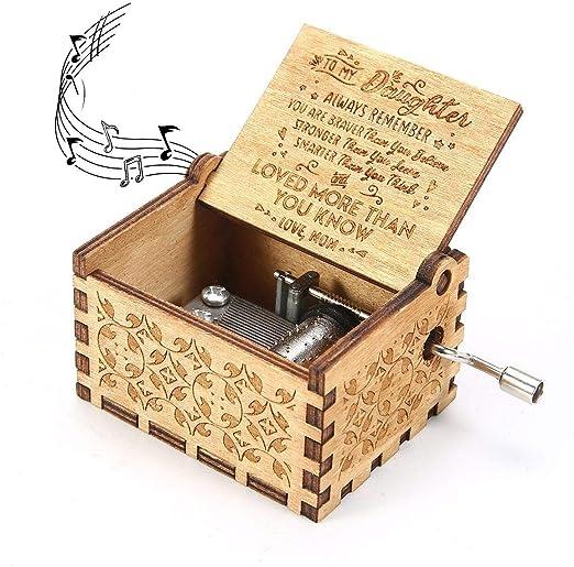 James Fashion Caja de música con manivela de Mano grabada Caja ...