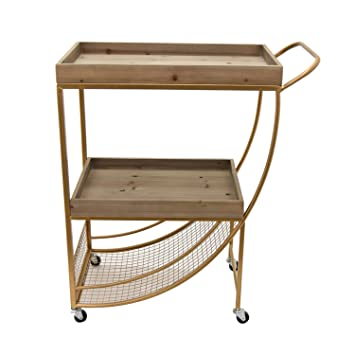Beau Three Hands Wood/Metal Bar Cart Home Décor Accent, Gold