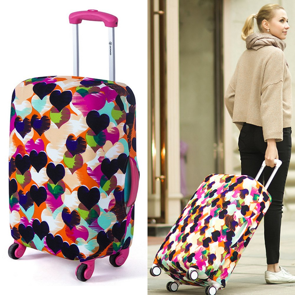yazi Fashion Luggage Bag Washable Dust Proof Travel Suitcase Protector Cover Black White Houndstooth S 18-20 Inch Happyness2014 003052