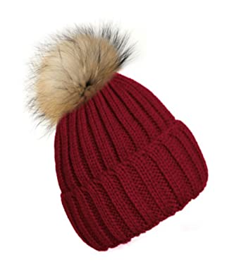 354003d1eec 4sold Womens Girls Winter Hat Wool Knitted Beanie Fleece with Pom Pom Cap  SKI Snowboard Hats Bobble (Dark Red)  Amazon.co.uk  Clothing