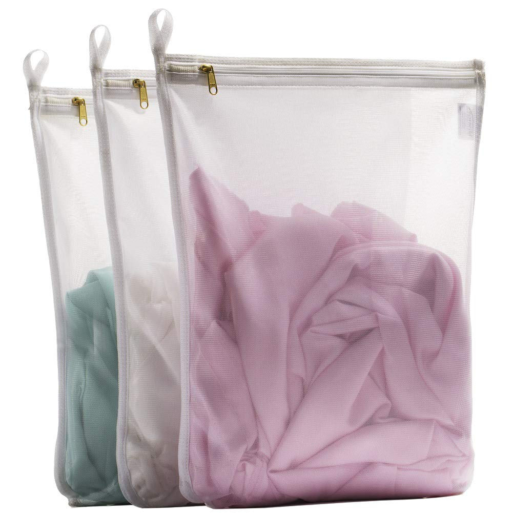 TENRAI 3 Pack (3 Medium) Delicates Laundry Bags, Bra Fine Mesh Wash Bag, Use YKK Zipper, Have Hanger Loops, Zippered, Protect Best Clothes in The Washer (White)