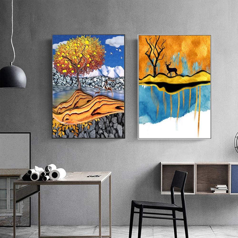 zxddzl Sala de Estar Arte Abstracto Dos Pintura al óleo del Paisaje AC-018 30 * 40cm: Amazon.es: Hogar