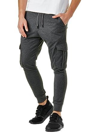 de63d1caa1e050 EightyFive Herren Jogginghose Zipper mit Seitentaschen Cargo Schwarz Weiß  Grau EF305  Amazon.de  Bekleidung