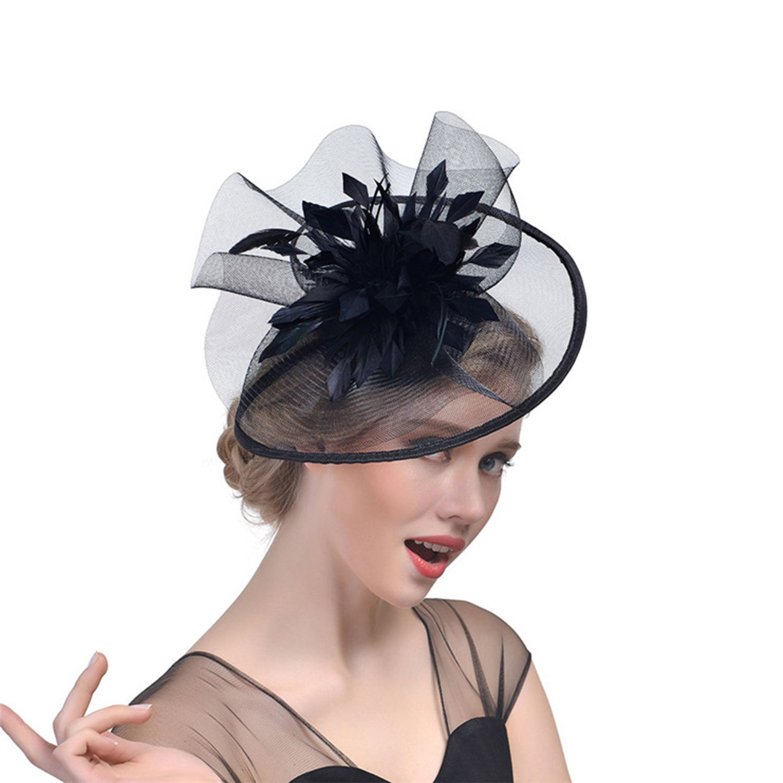 Women Hair Clips Wedding Cocktail Ascot Fascinators Veil Church Hats Feather